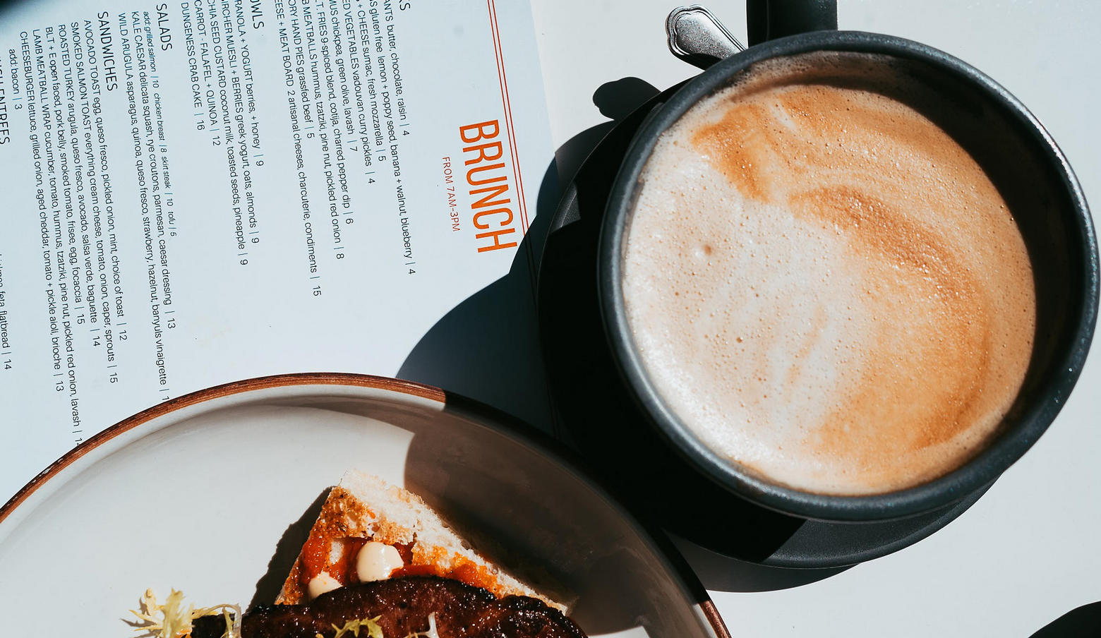 Brunch Menu and Latte