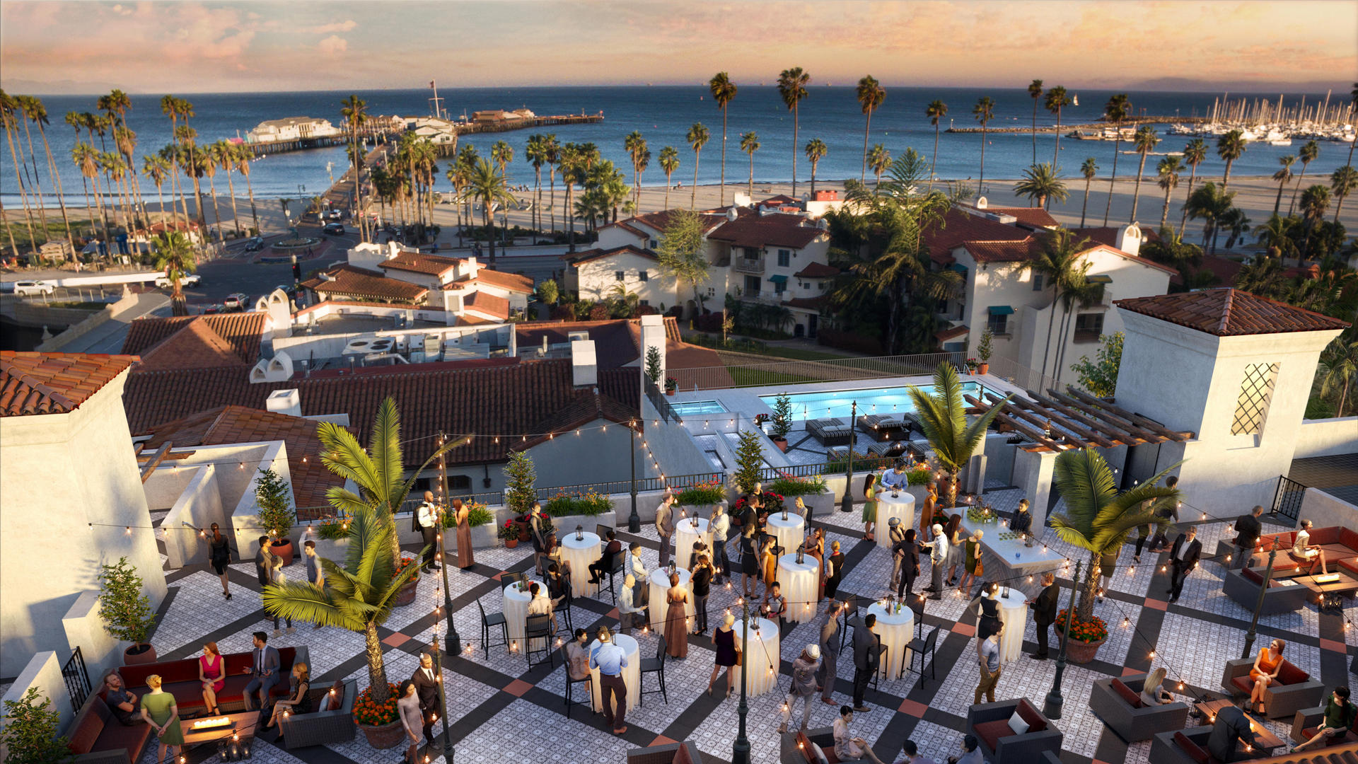 outdoor event venue with bar tables overlooking ocean