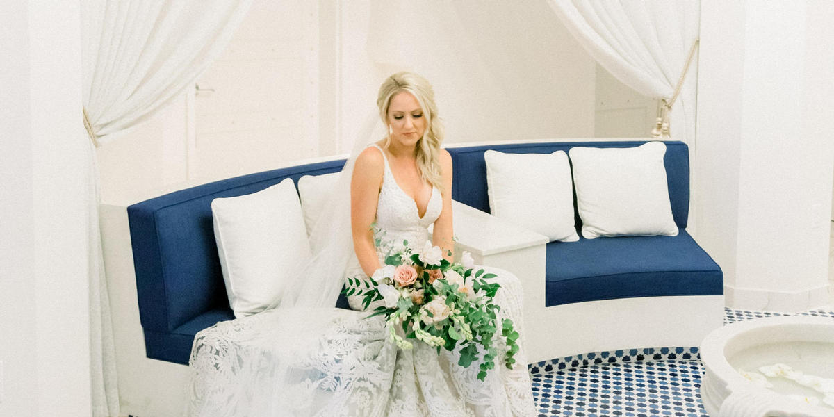 Bride sitting in the spa lobby