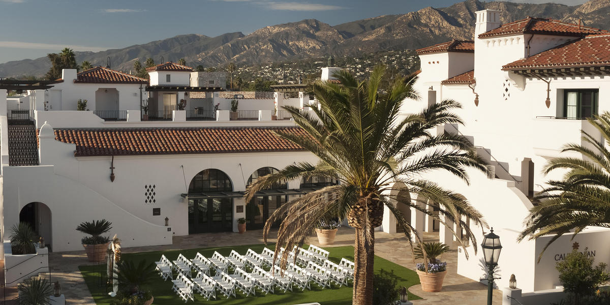 Outdoor wedding ceremony location set up at Hotel Californian