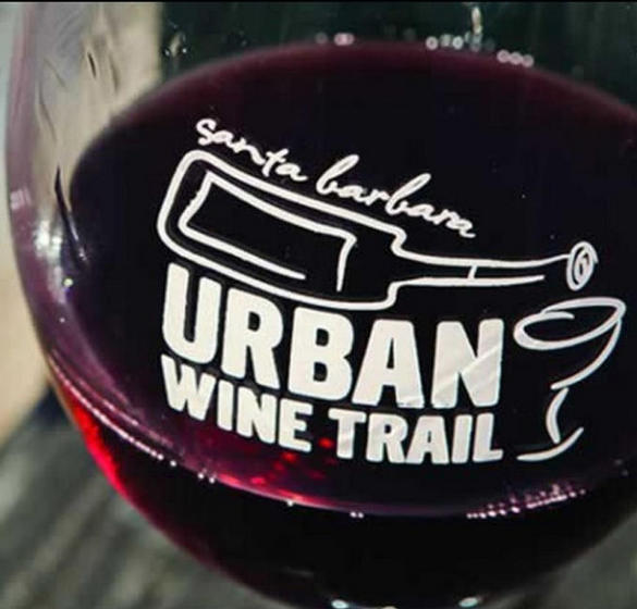 Wine glass with Santa Barbara Urban Wine Trail logo