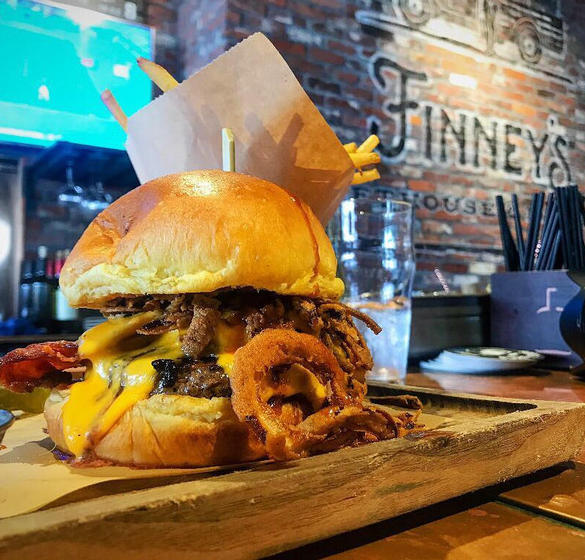 A burger at Finney's Crafthouse